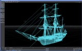 HMS Beagle Wire frame model.