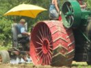 Closeup of Case tractor during plowing demonstration
