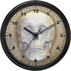 Clock with image of Human Skull